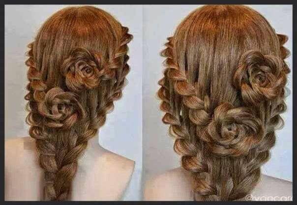 Peinado rosas con trenzas