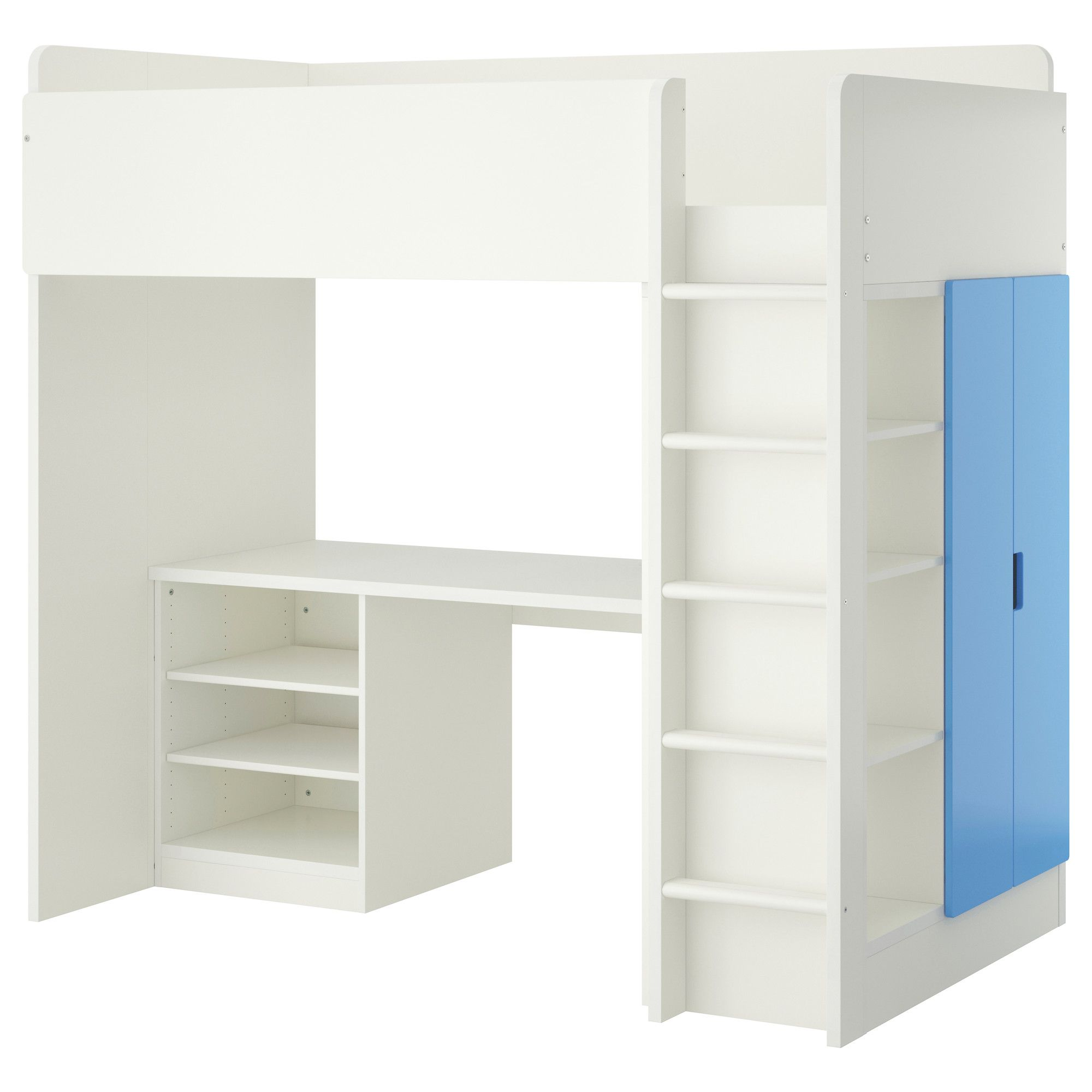 STUVA Loft bed with 2 shelves/2 doors, white