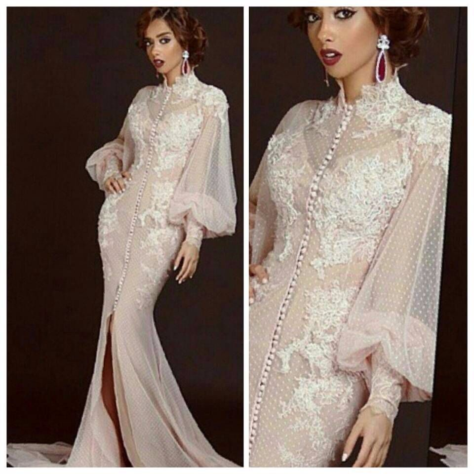 c64feb1ff74 Saudi Arabia Long Sleeve Muslim Evening Dress Mermaid High Neck Appliques  Front Slit Peach Prom Arabic
