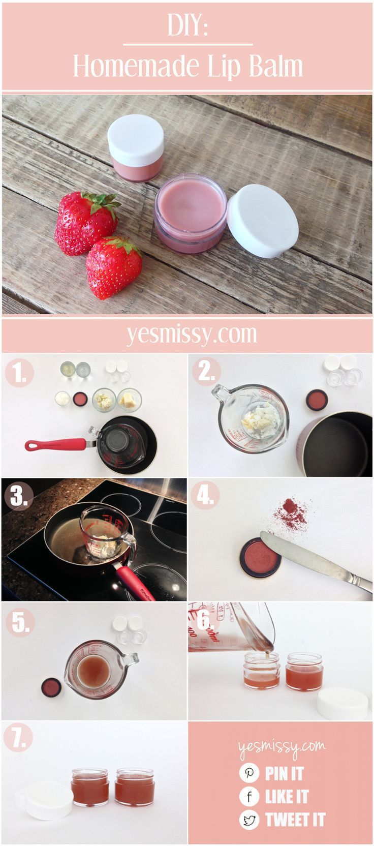 Give your lips the perfect flush of color for a beautiful, natural look with this easy to make DIY lip balm. #diybeauty