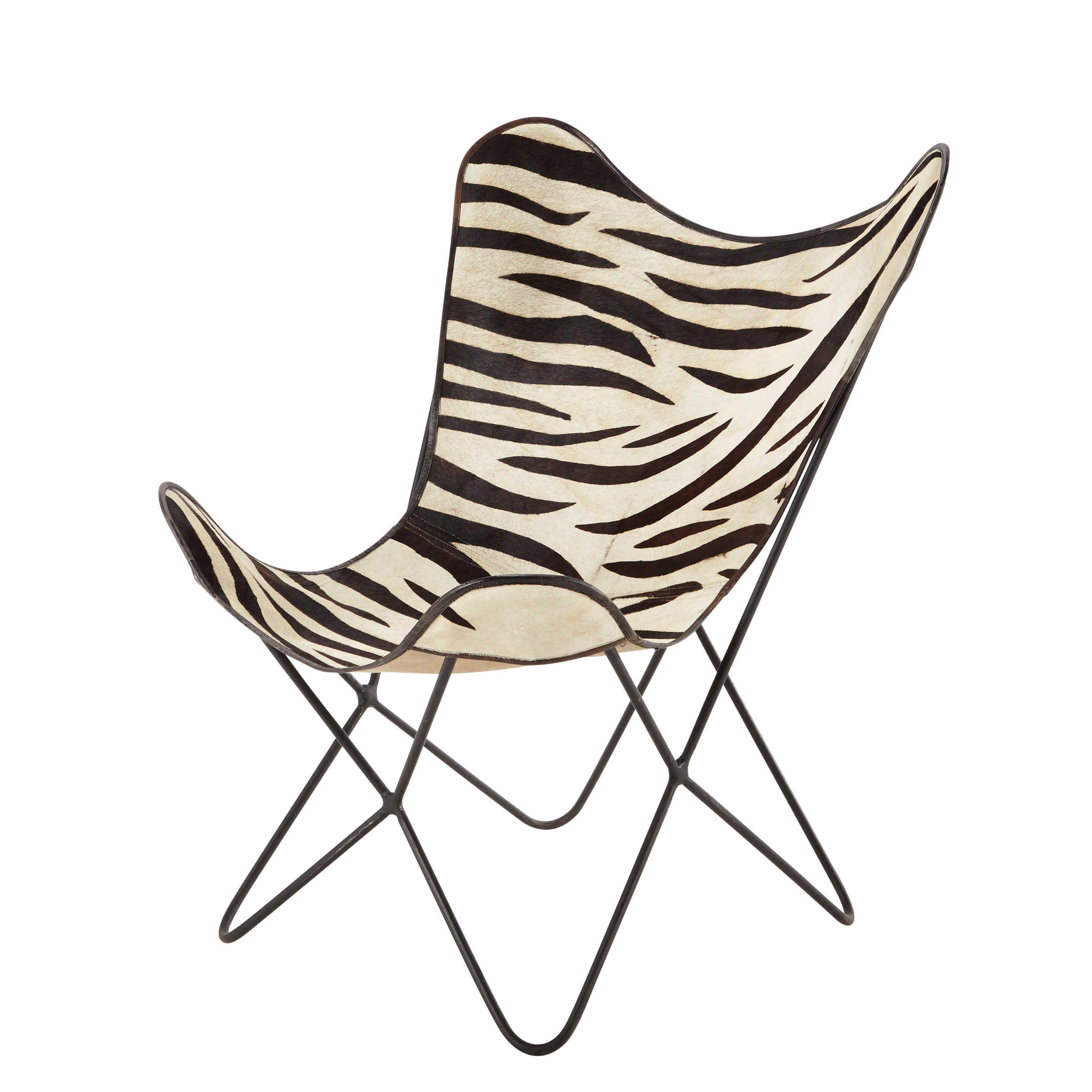 Poltrona Bianca Nera In Vacchetta Zebrata Zebra Maison Du Monde
