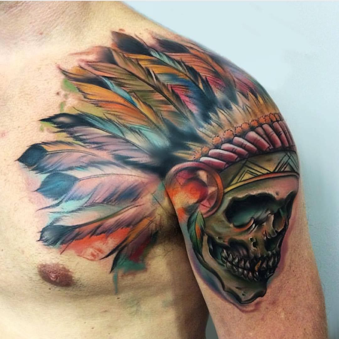 Indian skull tattoo on shoulder indian tattoo for How to become a tattoo artist in india