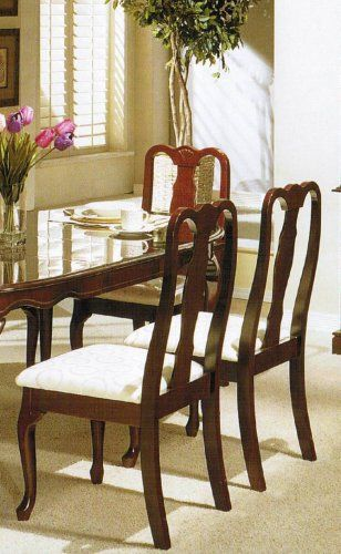 Best Set Of 2 Dining Chairs Queen Anne Style Cherry Finish To 400 x 300