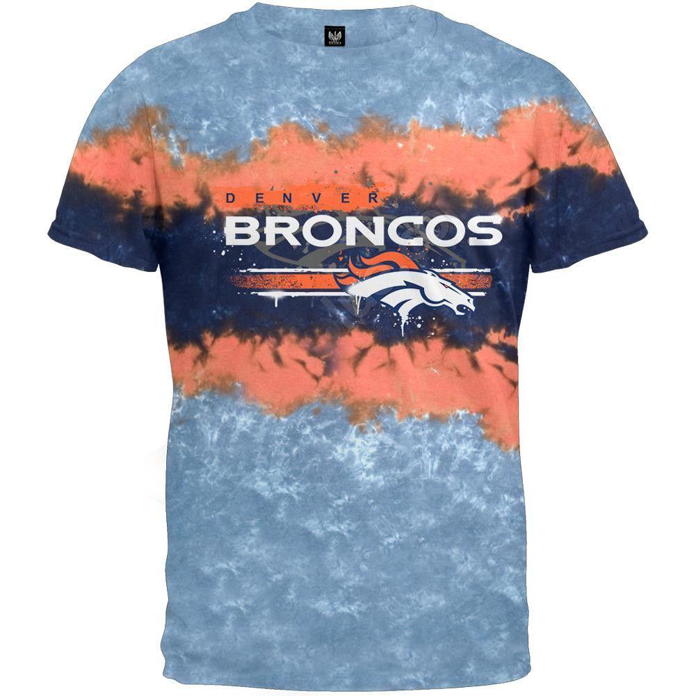 a103d3e96 Denver Broncos - Horizontal Stencil Tie-Dye T-Shirt