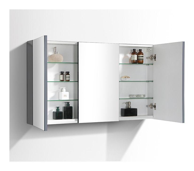 Armoire De Toilette Bloc Miroir Siena Largeur 120 Cm Gris Laque
