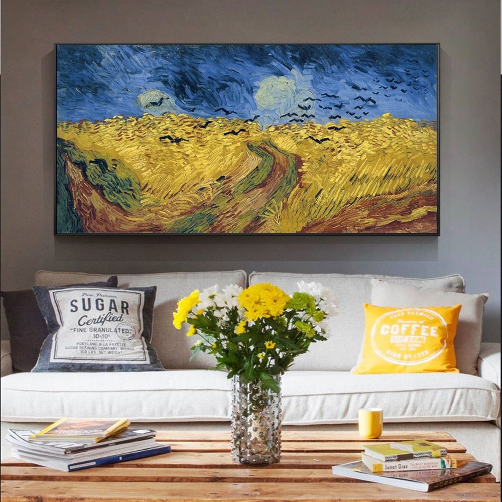 Van Gogh Famous Painting Impressionist Wheatfield With Cypresses Replica On The Wall Landscape Wall Art Canvas Picture Cuadros Wall Art Canvas Prints Canvas Art Prints Famous Art Paintings