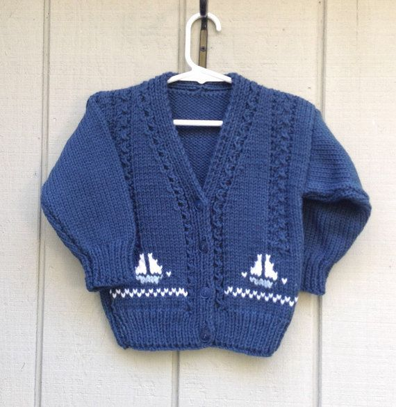 6f85e613c185 Sailboat cardigan 2 3 years Boys navy knitted by LurayKnitwear ...