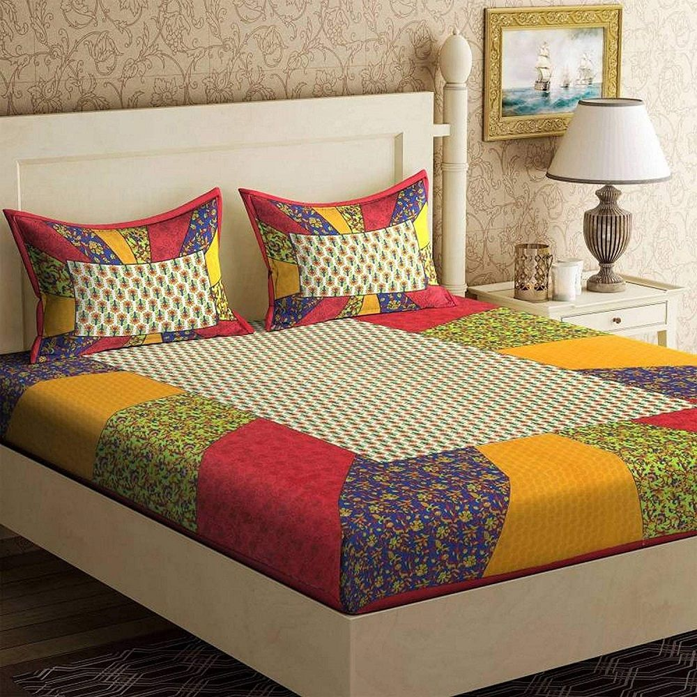Double Bed 100 Traditional King Red Rajasthani Jaipuri Sanganeri 100 Cotton