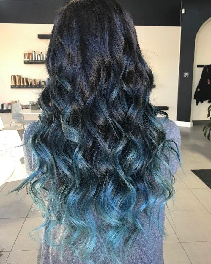 40 Fairy Like Blue Ombre Hairstyles Black Hair With Highlights Hair Styles Blue Hair Balayage