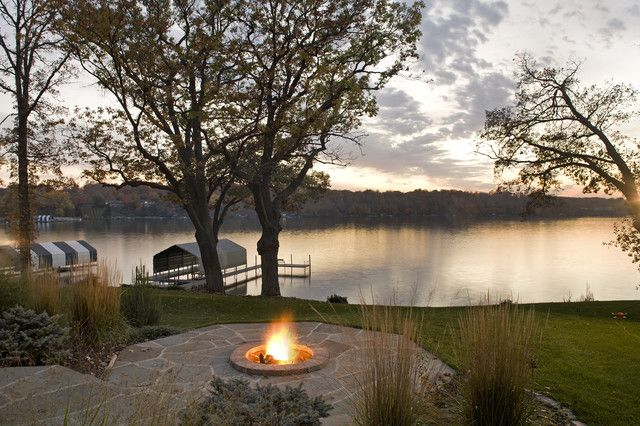 Lake House Decorating Design, stone fire place and great sunset spot