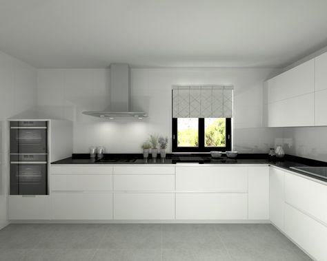 Modelo Line L Blanco Seda Encimera Granito Negro - küche ohne griffe