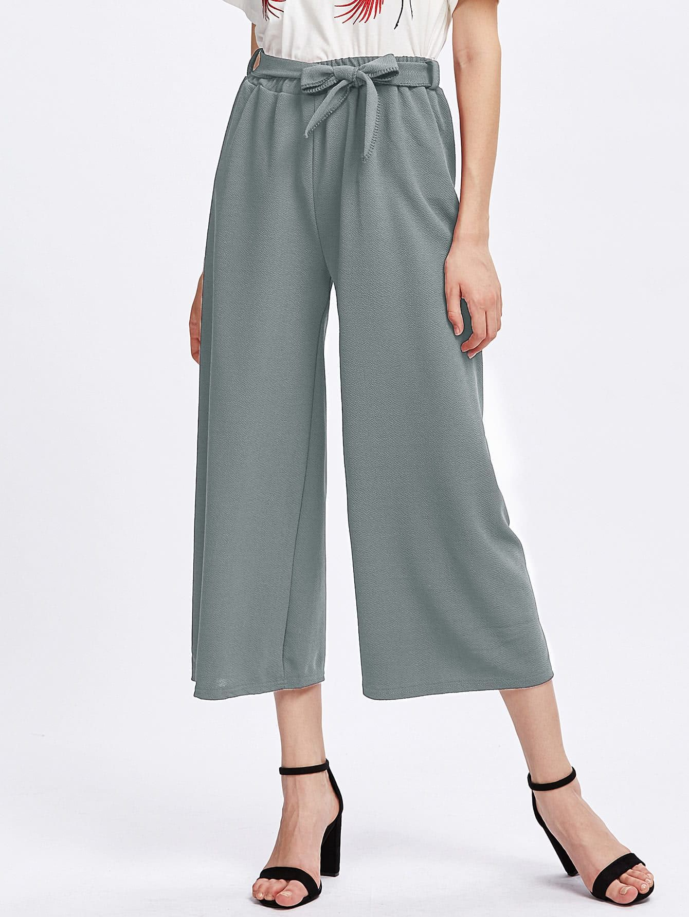 3a7fcec8b5 All Boho Plain Wide Leg Loose Elastic Waist Mid Waist Grey Crop Length Tie  Waist Culotte Pants with Belt