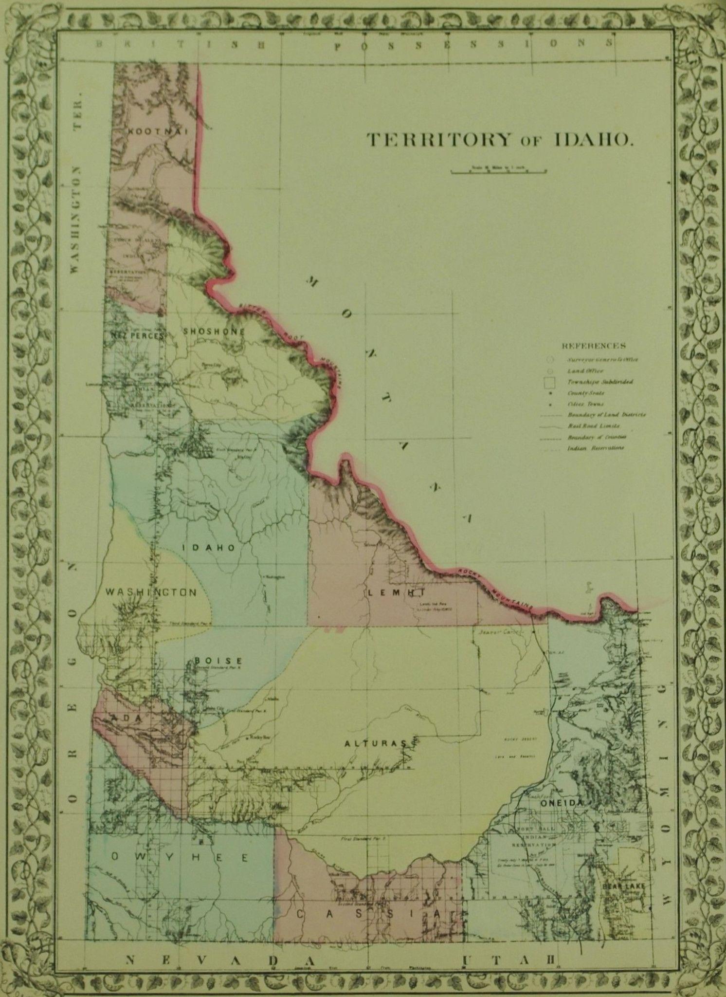 1881 Territory of Idaho - S Mitc Jr   Maps   Map, Idaho, State map on maine's map, california's map, idaho welfare map, oklahoma's map, idaho bureau of land management map, washington's map, saw hills of idaho map, idaho hunters map, idaho campgrounds map, oregon map, idaho farmland map, idaho county map, north idaho map,