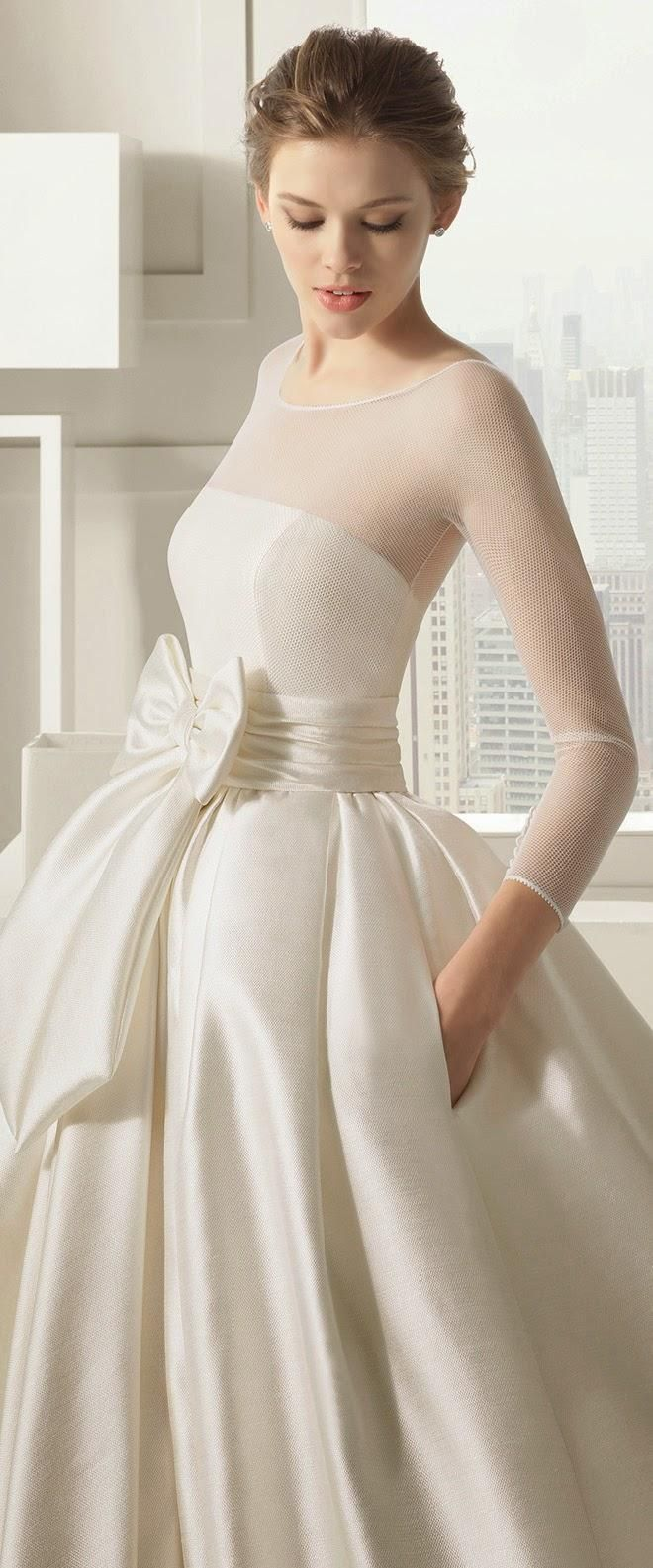 Sheer top wedding dress  Beautiful Retro Elegant Even the bow adds just the right touch