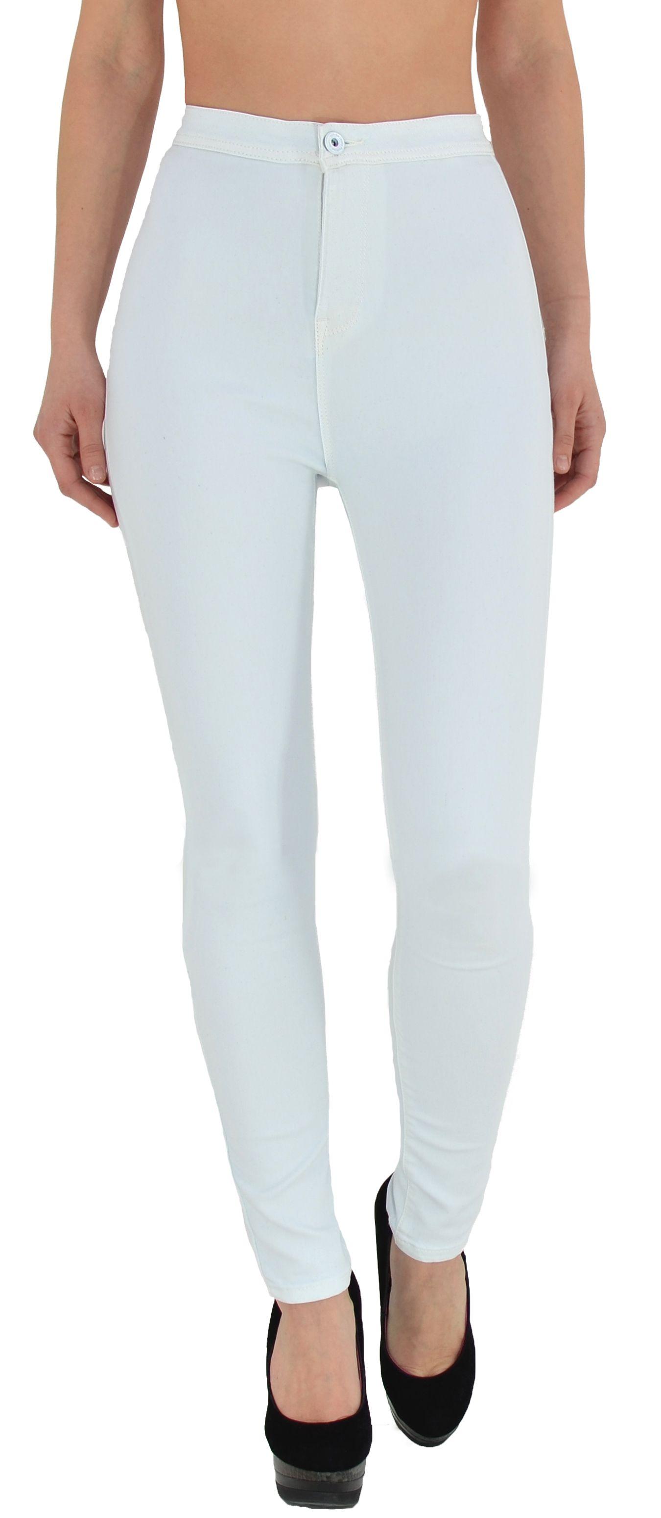 ESRA Damen Skinny High Waist Jeans weiß | Weiße jeans, Damen