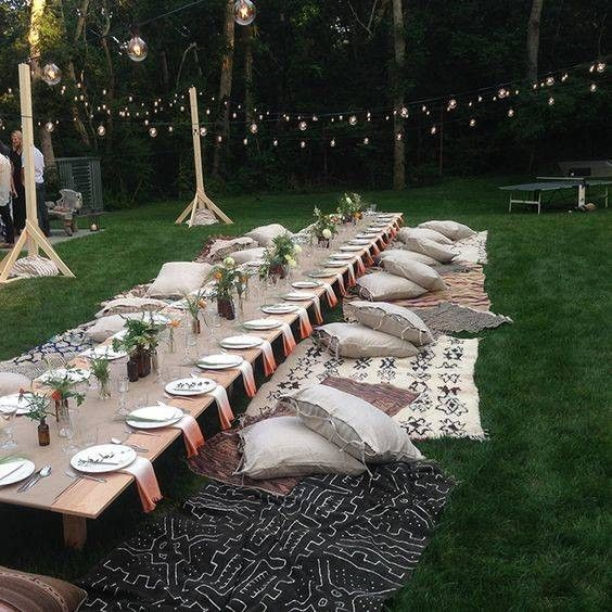 40 Dining Rooms With Boho Interior Design Domino Outdoor Dinner Parties Outdoor Dinner Backyard Party