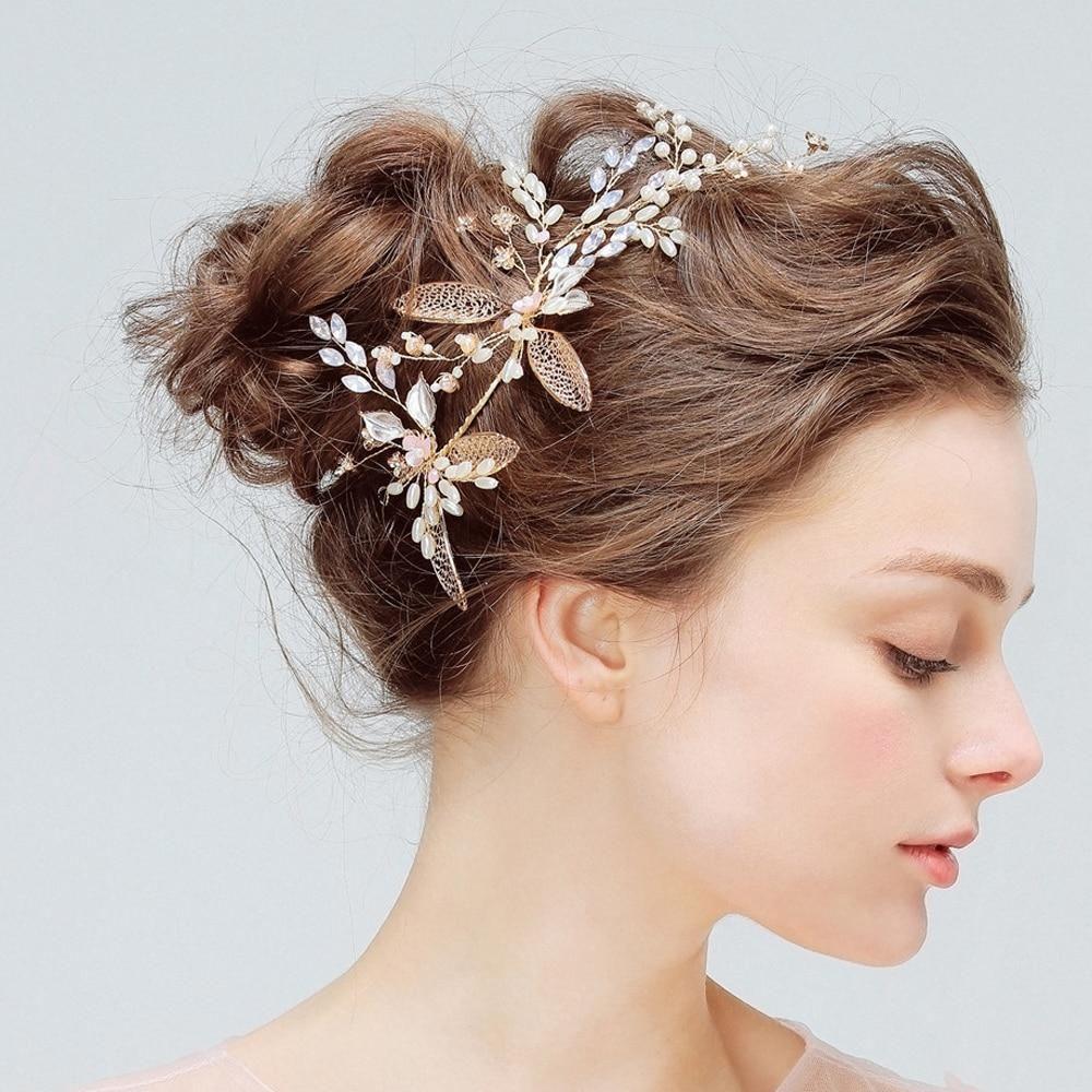 gold leaf bridal hair clips handmade crystal wedding