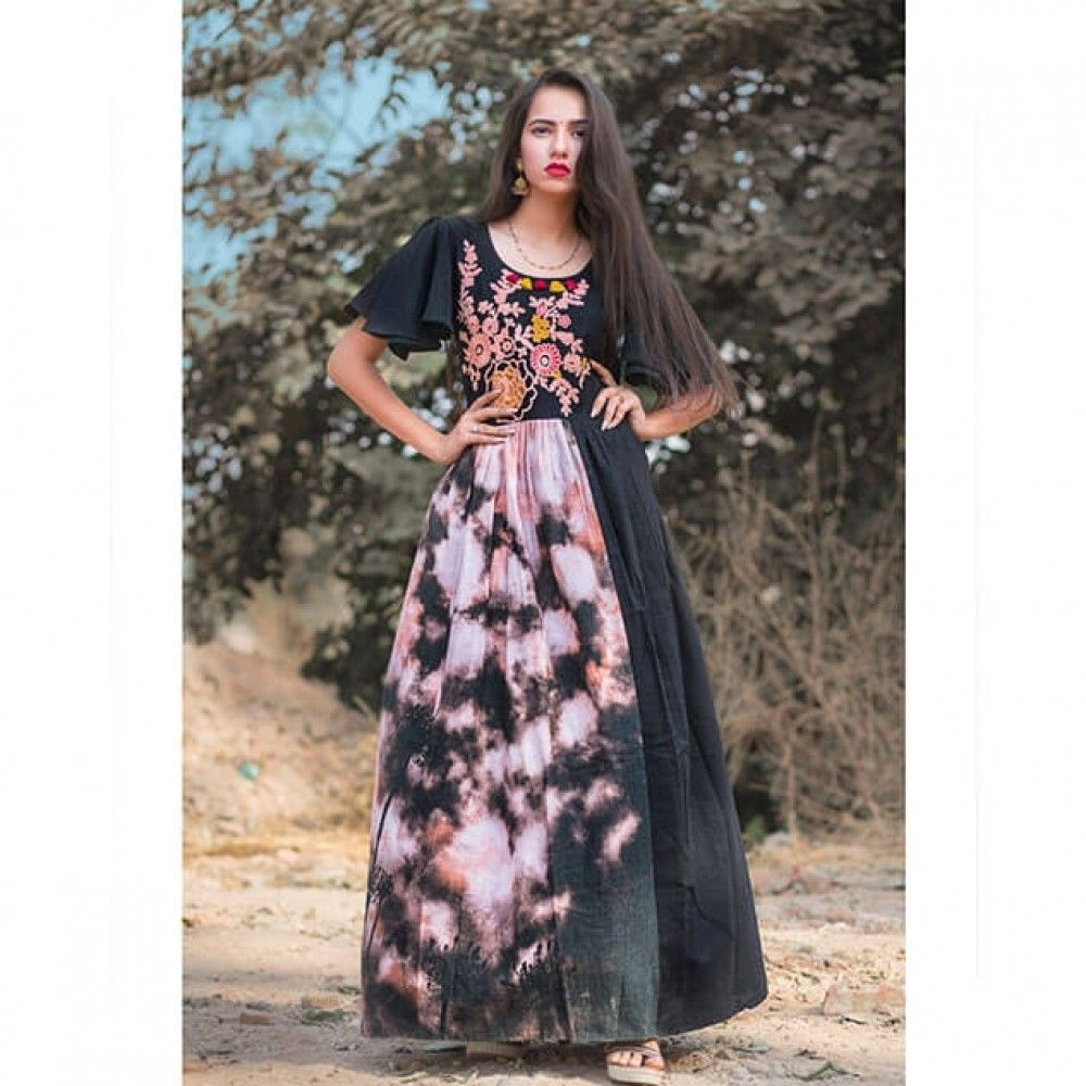 Black linen maxi dress with embroidery mesmora dresses
