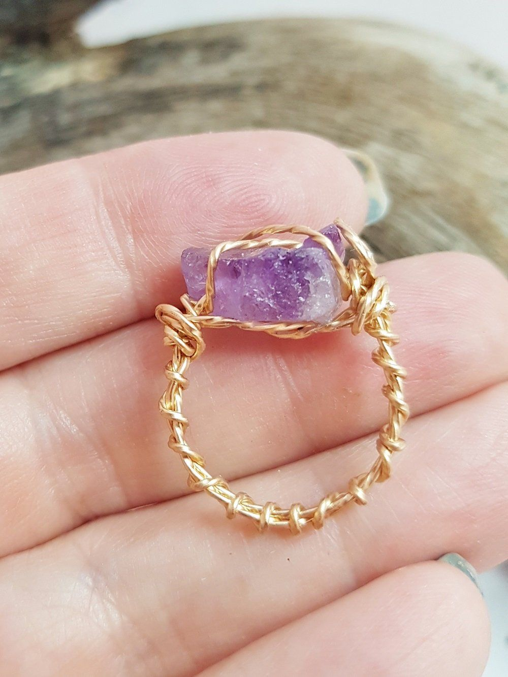 Wire Wrapped Amethyst Rings For Women ~ Raw Crystal Promise Ring ...
