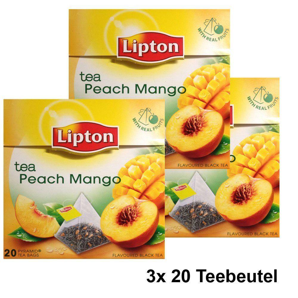 Lipton Black Tea Peach Mango Premium Pyramid Bags 20 Count Box