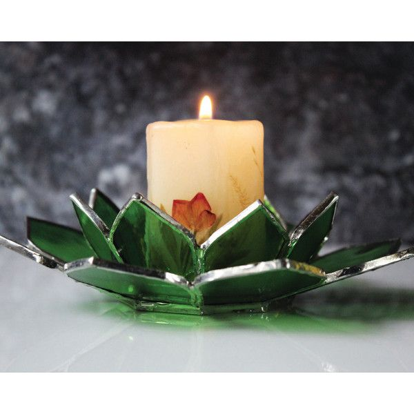 Stained glass candle holder for Christmas, Green glass tea light... ($43) ❤ liked on Polyvore featuring home, home decor, holiday decorations, christmas tealight holders, christmas holiday decor, floral stained glass, christmas holiday decorations and christmas tea light holders
