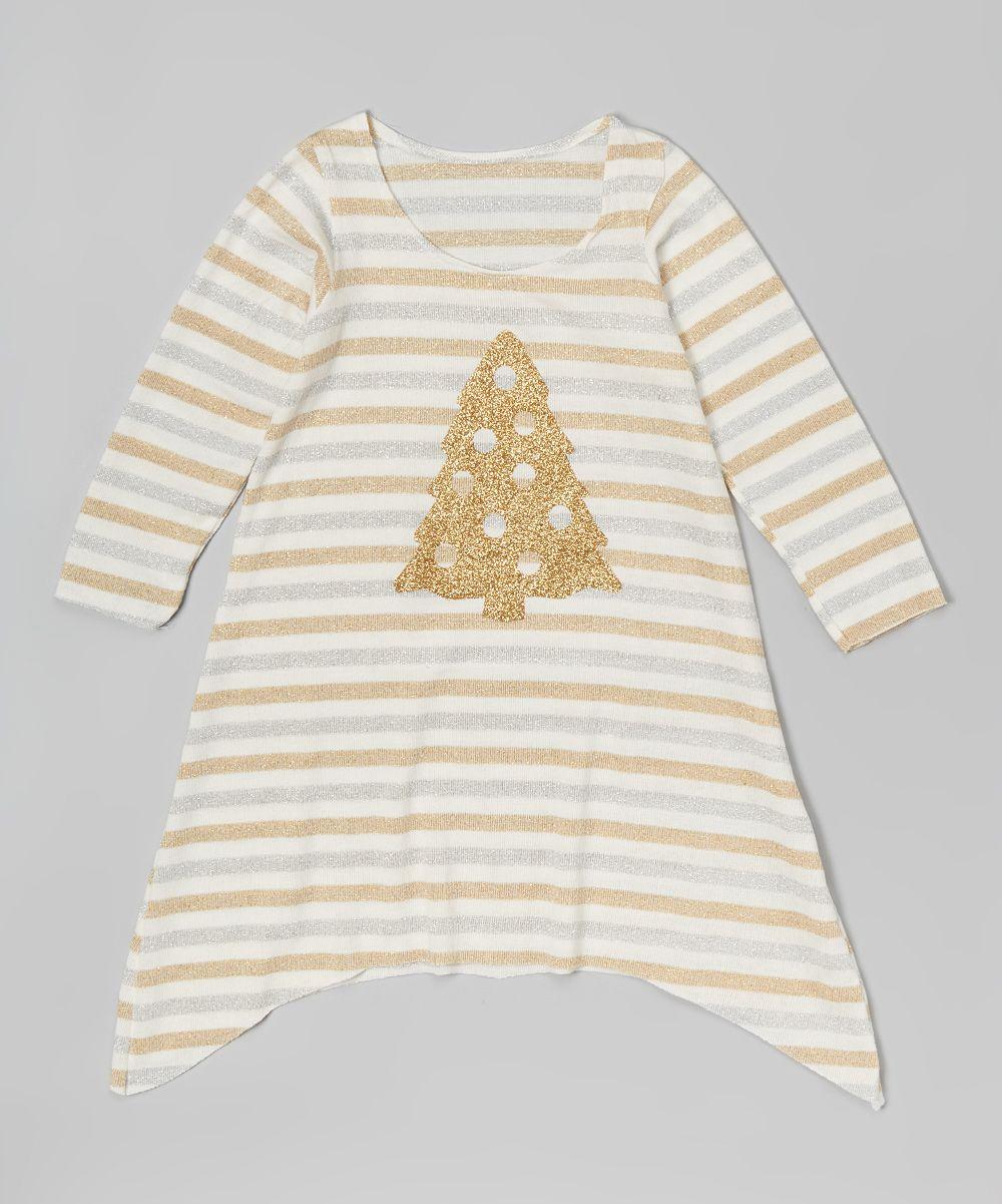 Gold Stripe Tree Sidetail Dress - Infant Toddler & Girls