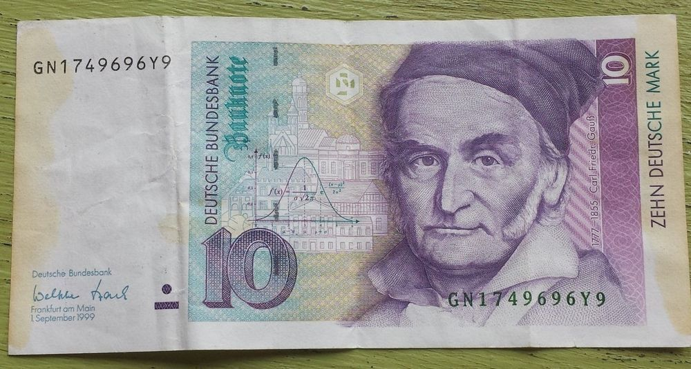 Germany 10 Mark P38 1999 Pre Euro Banknote Carl Friedrich Gauss Paper Money Bank Notes Money Collection Carl Friedrich Gauss
