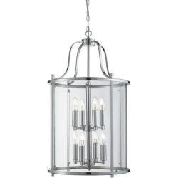 Photo of Searchlight pendant lamp Victorian Lantern, chrome and clear glass 8-light Victorian Lantern 3068-8cc Sea