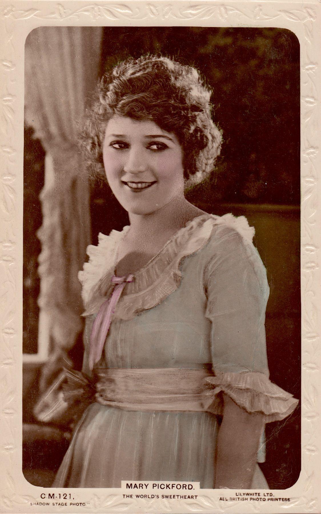 MARY PICKFORD 'The World's Sweetheart' Silent Star Lilywhite postcard (Minkshmink Vintage Postcard Collection on pinterest)
