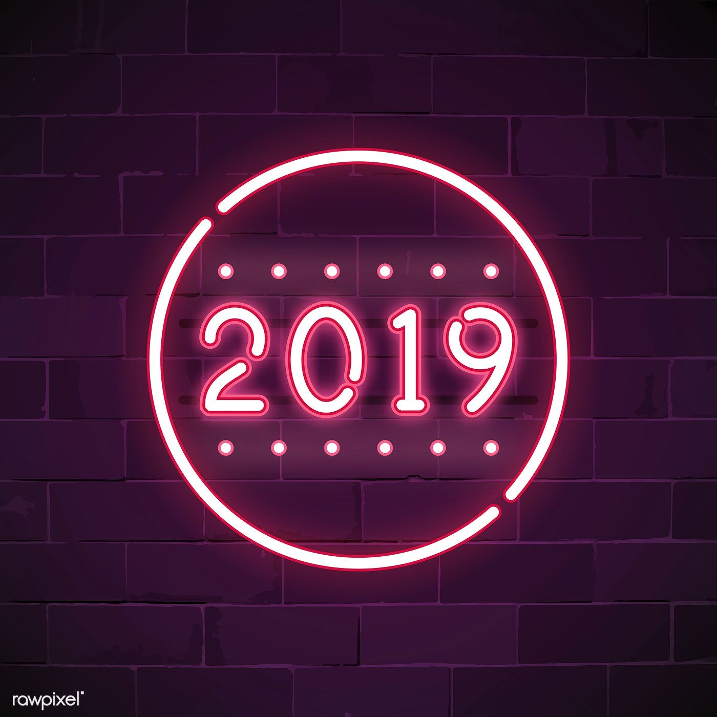 Pink 2019 neon sign vector free image by