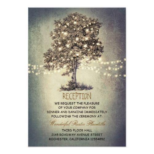 Country Wedding Reception Tree Rustic Driving Directions Card