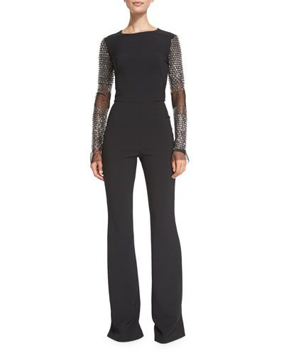 Beaded-Sleeve Flared Jumpsuit, Black