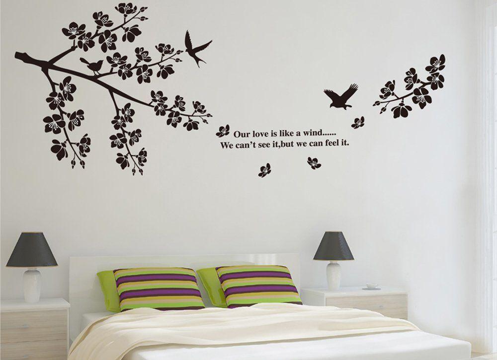 ufengke® Noir Fleur Branche D\'Arbre Oiseaux Volants Stickers Muraux ...