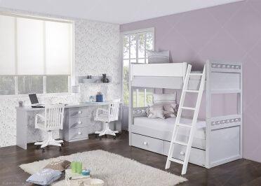 Chambre enfants avec lit superpose et double bureau de qualite