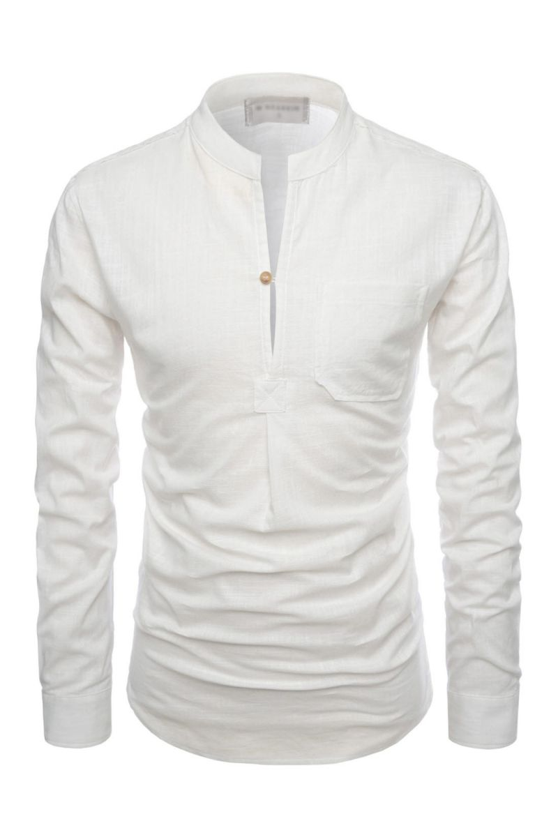Casual mandarin collar shirts for men henley slit neck for Mens collared henley shirt