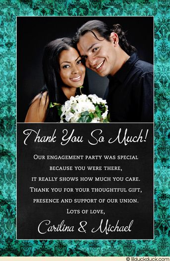 black and white engagement party thank you note damask engagement thank you card teal party vintage photo - Engagement Thank You Cards
