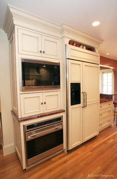Refrigerator and double ovens next to each other wall for Wall oven microwave combo cabinet