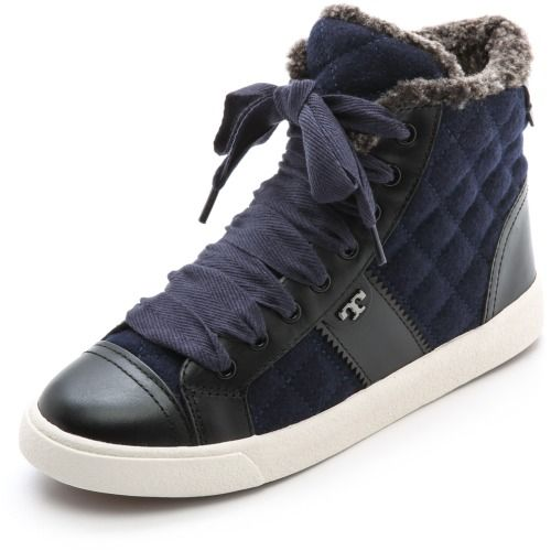 $250.00 Tory Burch Oliver Flannel High Top Sneakers - Bright Navy/Black