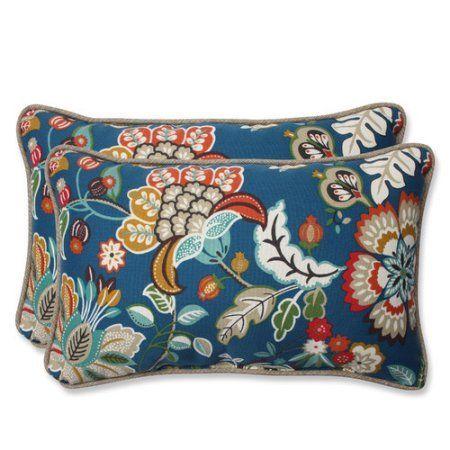 Pillow Perfect Outdoor/ Indoor Telfair Peacock Rectangular Throw Pillow (Set of 2), Blue