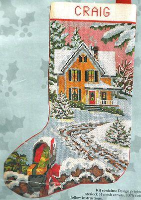 Something Special Country Christmas Scene Needlepoint Stocking Kit SEALED