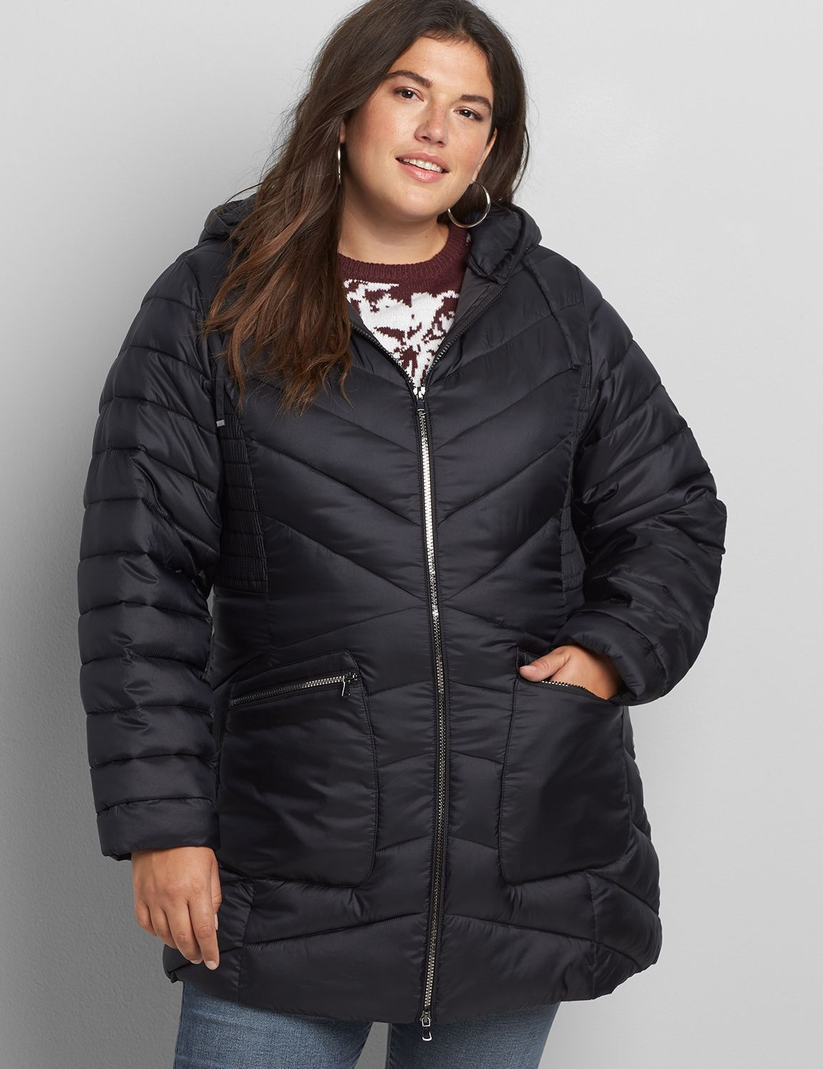 Shirred Side Packable Puffer Jacket Lane Bryant In 2021 Plus Size Outerwear Puffer Jackets Peplum Jacket [ 1500 x 1154 Pixel ]