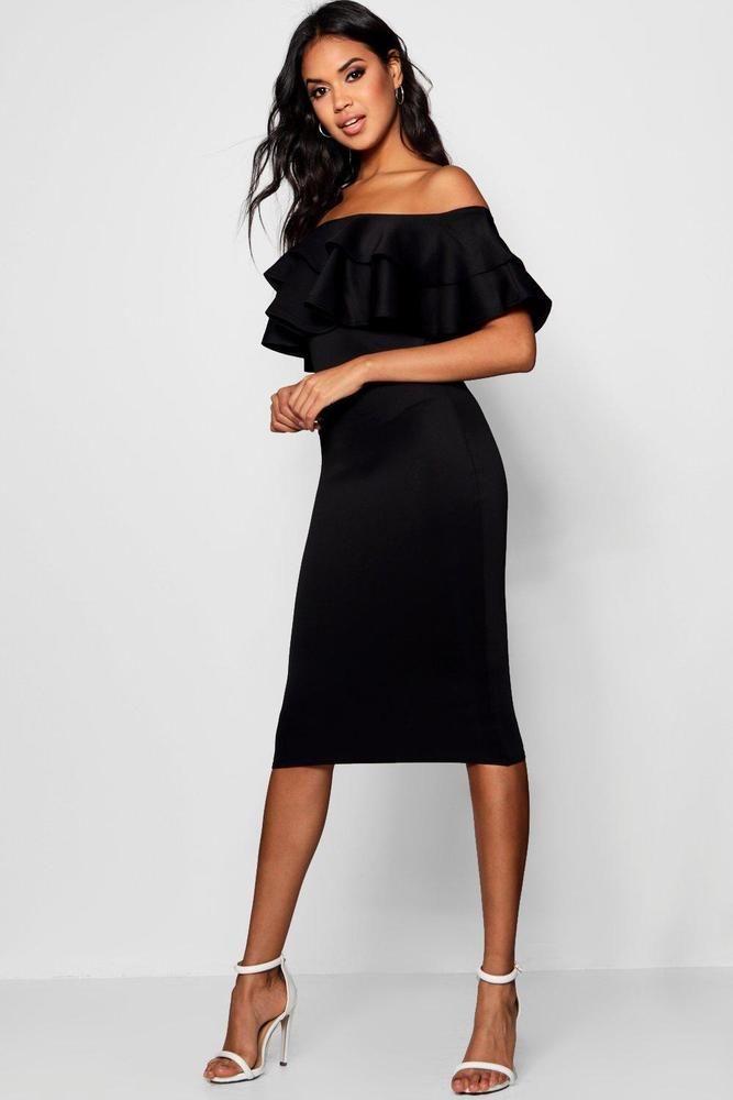 a1c0bfdf0e9c Boohoo Womens Bardot Layered Frill Detail Midi Dress #fashion #clothing  #shoes #accessories #womensclothing #dresses (ebay link)