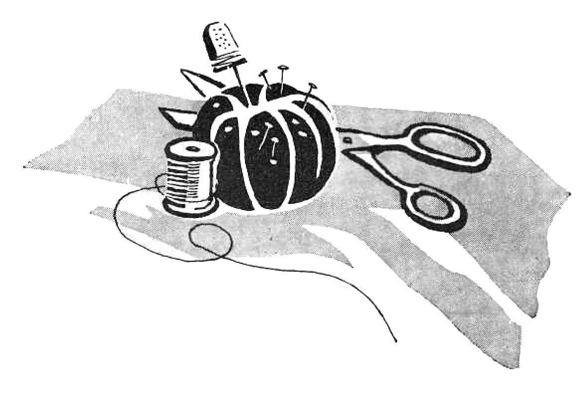 Vintage Clip Art - Sewing Supplies - Pin Cushion - Retro