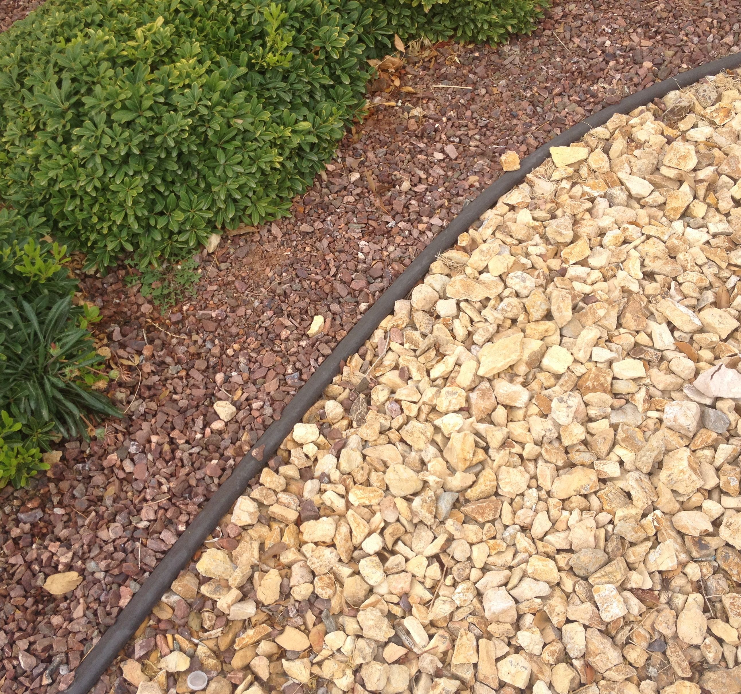 California Gold Gravel 2 And Wine Red Gravel 3 4 The Two Important Features Of This Photo Are Landscaping With Rocks Shed Landscaping Gravel Landscaping