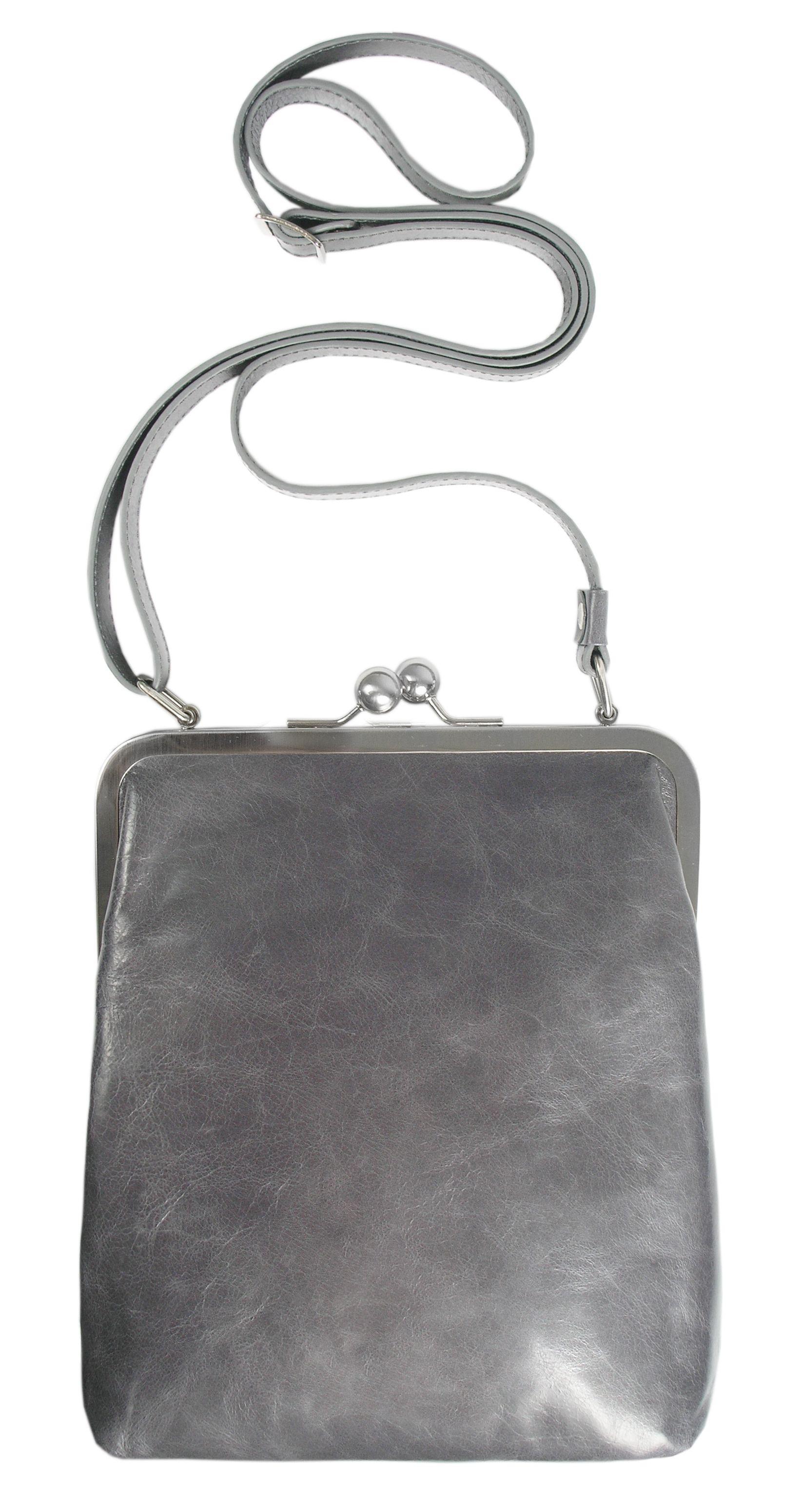 BT2 LOLA vintage granit kleine Ledertasche mit Riemen grau leather ...