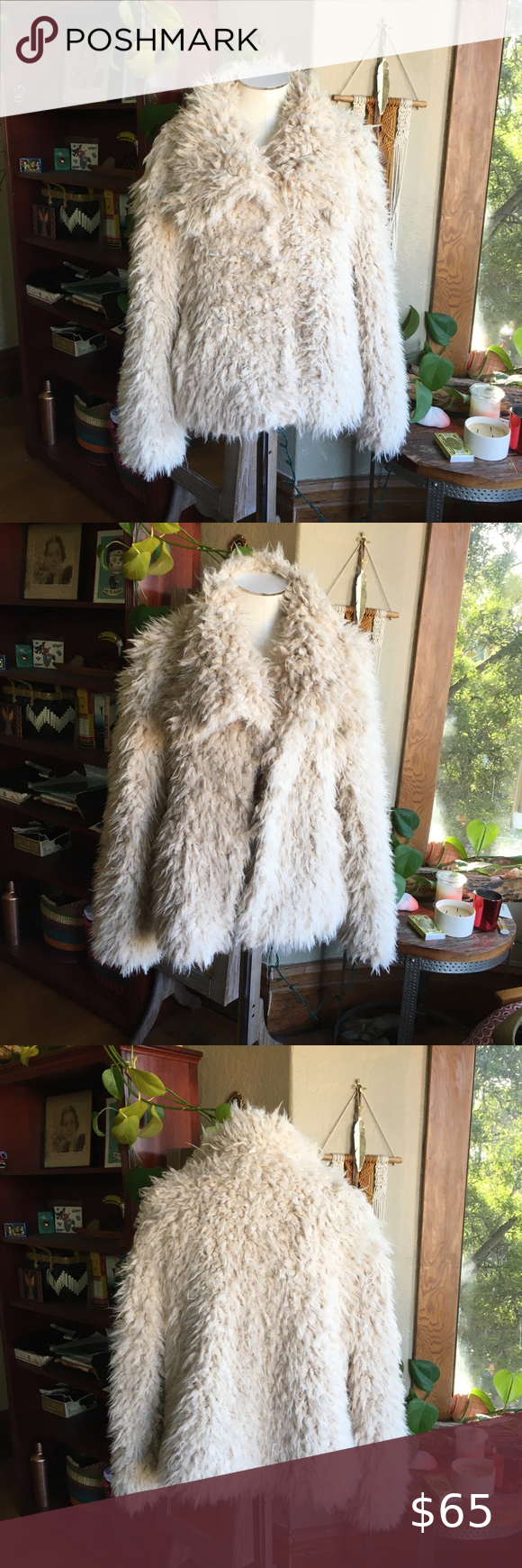 Lucky Brand Cream Color Faux Fur Jacket in 2020 Faux fur