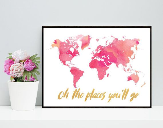 Simple Bedruckbar Oh die Orte Sie ull gehen Weltkarte von PaperStormPrints