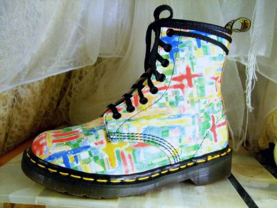 Vintage Unusually Bright and Colorful Dr Martens Original 8