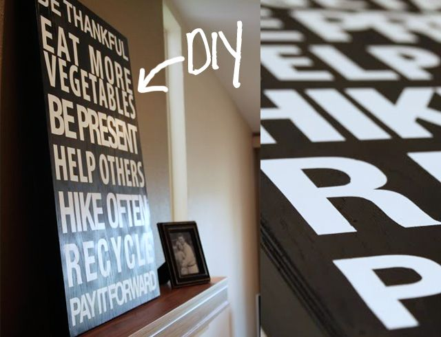 Simple Spray Paint Stencils Part - 29: DIY Vintage Bu0026w Block Letter Signs - Black Spray Paint Over Simple Stencil