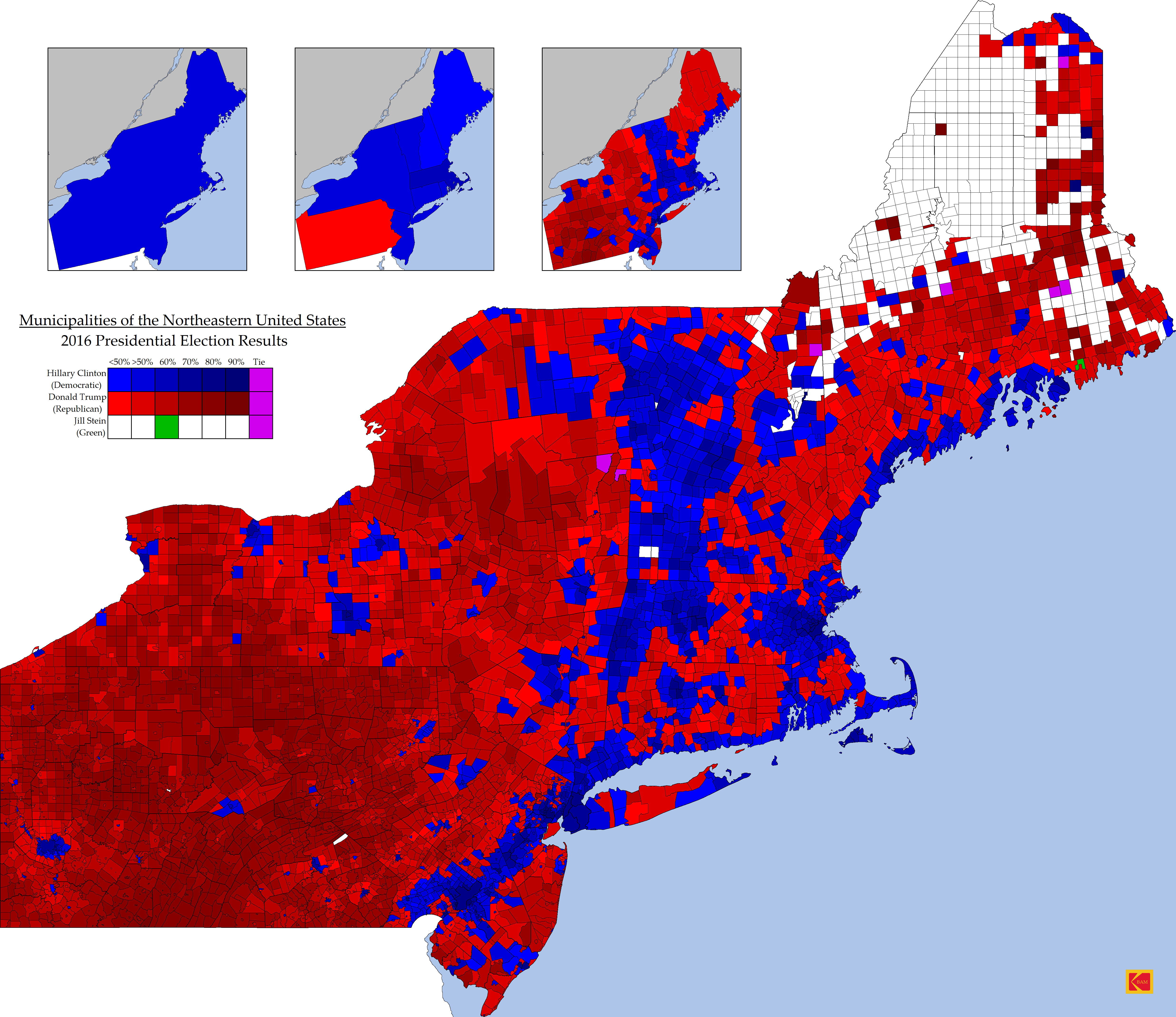Us Map Democrat Republican States 2016.2016 Election Results In The Northeast Us Abstract Facts